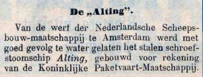 1900-06-15 Alting te water gelaten, verscheen zowel in Samarangsch handels- en advertentie-blad als De Locomotief