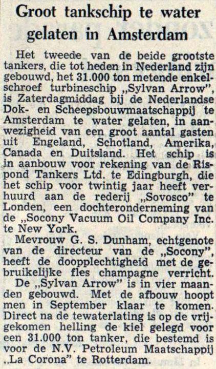 1954-05-24 NDSM Tewaterlating Sylvan Arrow de telegraaf