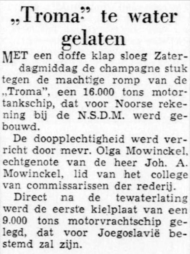 423 1950-03-20 De Telegraaf, tewaterlating Troma