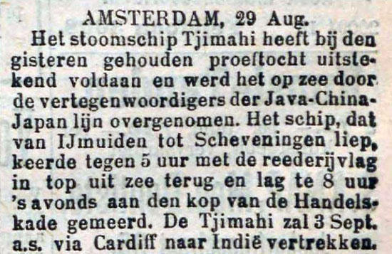 52. 1903-09-01 proeftocht Tjimahi, Rotterdams Nwsblad